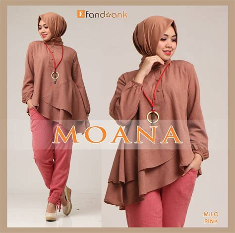 Tunik Fara Milo Kancing Depan moana milo baju muslim gamis modern