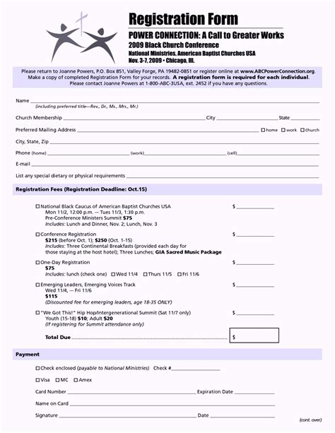 retreat registration form template church conference registration form template template