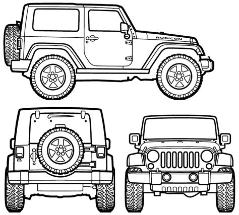 jeep front drawing 2007 jeep wrangler rubicon suv blueprint jeepy