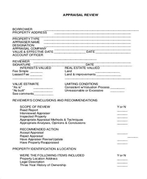 Sle Real Estate Appraisal Form 7 Free Documents In Doc Pdf Commercial Appraisal Review Template