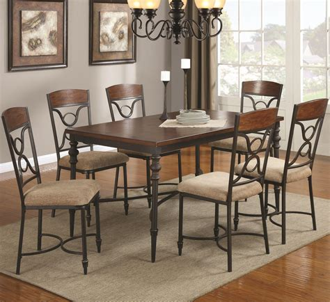 metal dining room tables coaster klaus 120851 120852 brown metal and wood dining