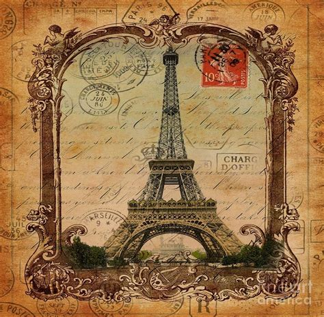 Home Decor Blogs 2014 by Vintage Victorian Frame Paris Eiffel Tower Postage Art
