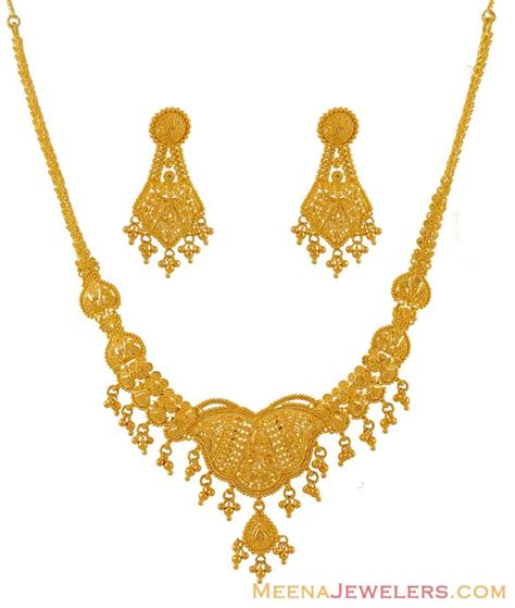 indian gold necklace set in 22k stgo6876 crafted