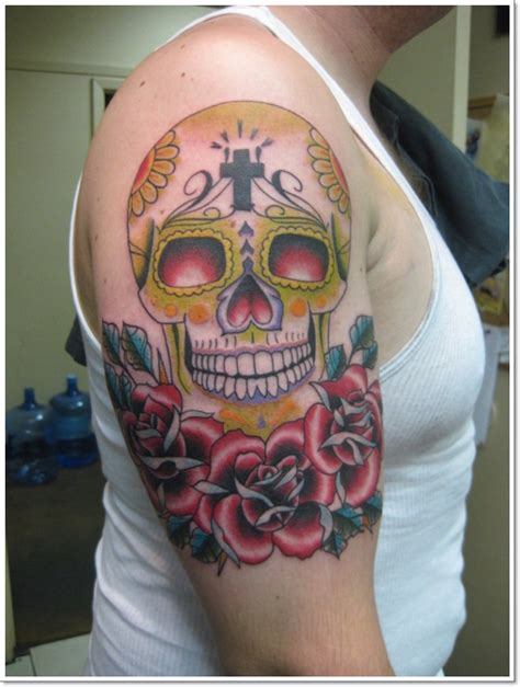 day of the dead tattoos with roses 40 bloodcurdling day of the dead tattoos