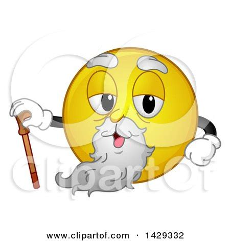 clipart of a cartoon yellow emoji smiley face old man with