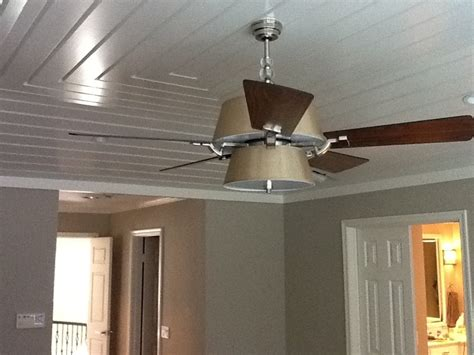 Tray Ceiling With Wood Plank Wood On The Ceiling Can Dress Up A Basic And