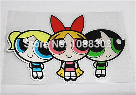 Sticker Stiker Label Nama The Powerpuff Power Puff cartooon powerpuff sticker decals reflective for car motor bike helmet on aliexpress