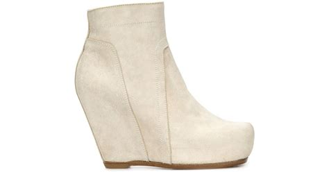 rick owens wedge ankle boots in white lyst