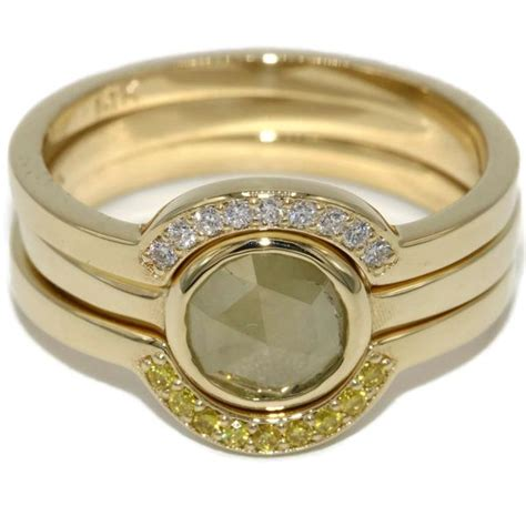 diamond stacking rings stack able ring set yellow gold 3