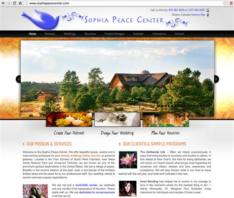web layout centered retreat center web design lionheart