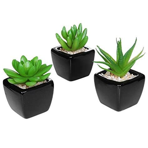 Set Of 3 Modern Decor Mini Artificial Plants With Square Small Plant For Office Desk