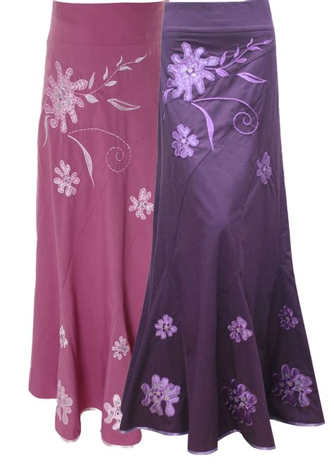Pink And Purple L by Lovely Pink Purple Embroidered Maxi Skirt Uk