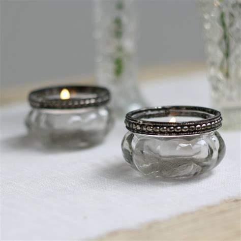 clear tea light holders mini clear glass tea light holders with metal rim by the