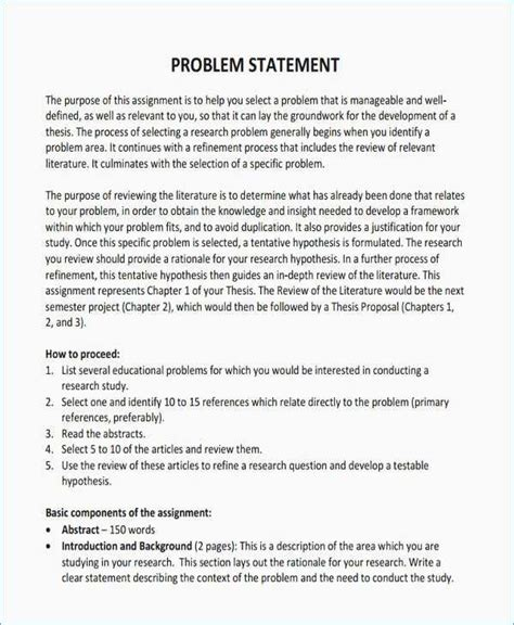how to write a problem 15 beautiful statement of the problem exle for research