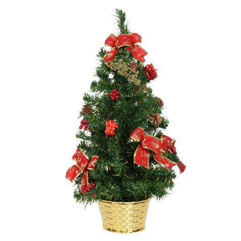 60cm decorated green christmas tree with red bows