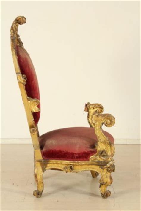 poltrona trono trono dorato sedie poltrone divani antiquariato