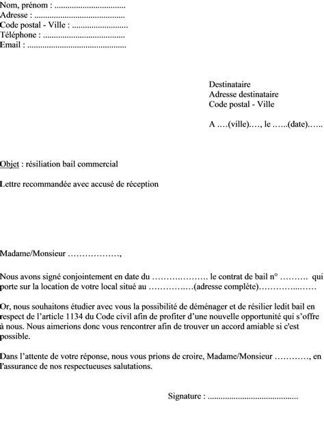 Lettre De Résiliation D Un Bail Commercial Modele Lettre Resiliation Bail Par Le Bailleur Document