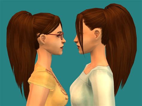 long hair with bangs sims2 mod the sims nouk s long ponytail with bangs