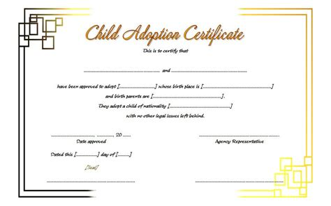 blank adoption certificate template adoption certificate template 6 the best template collection