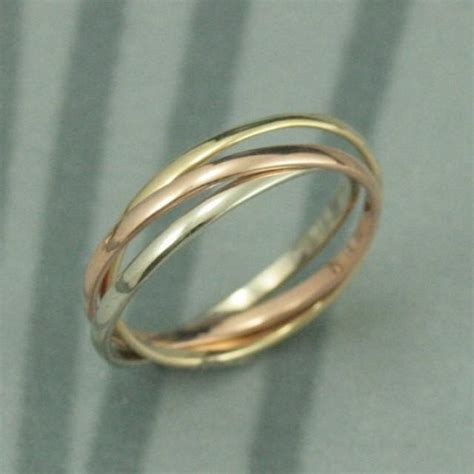 tri color ring 14k tri color rolling ring white and yellow gold