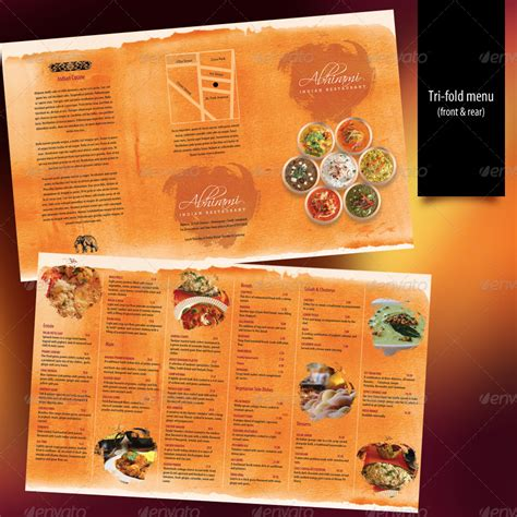 indian restaurant menu set a4 trifold graphicriver