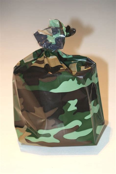camouflage cellophane party favor bags army treat bag