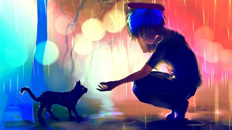 anime girl in the rain wallpaper artwork rain cat apofiss blue hair bokeh anime