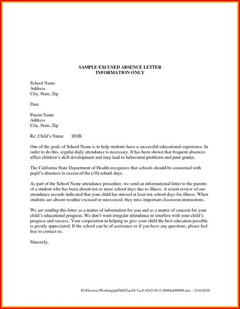 absence template leave of absence letter template for school new absent