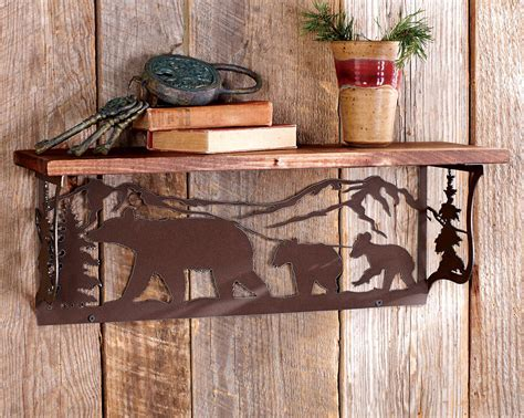 Bear Metal Art Wood Shelf