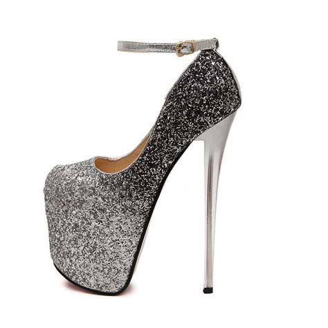 ankle wrap high heels fashion silver sequins high platform ankle wrap high heels