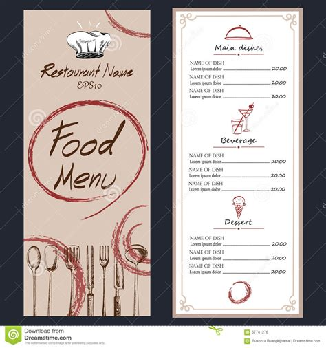 drafting table menu food menu cafe brochure drawing template stock vector