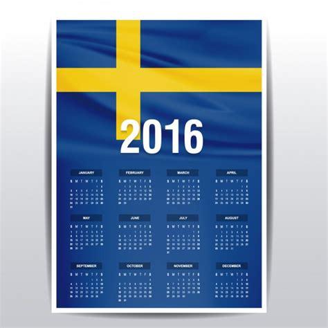 Calendario Sueco Sweden Calendar Of 2016 Vector Free