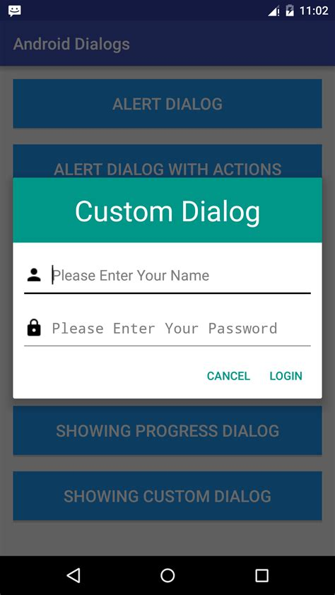 android dialog exle android working with dialogs