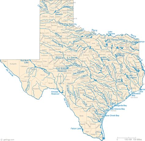 texas watershed map map of texas lakes streams and rivers