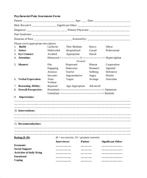 blank evaluation form template sle psychosocial assessment form 7 documents in pdf