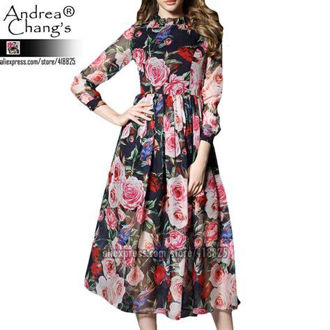 Blue Flower Bird Print Dress aliexpress buy 2016 summer designer womens