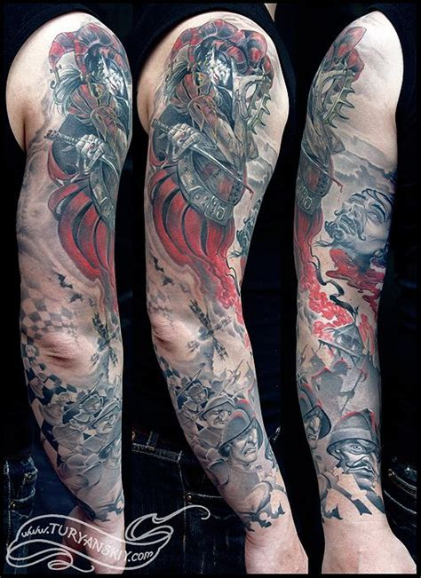 chess game inspired epic battle scene sleeve by oleg