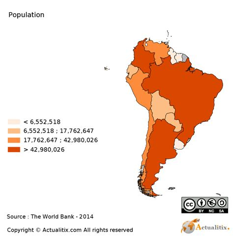 south america map by country south america map population 2016