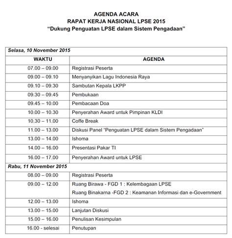 undangan rapat kerja nasional lpse 2015 seluruh indonesia pengadaan