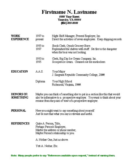 blank resume templates for microsoft word resume