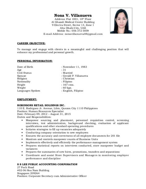 Comprehensive Resume Sample For Nurses by Comprehensive Cv Of Nona Villanueva