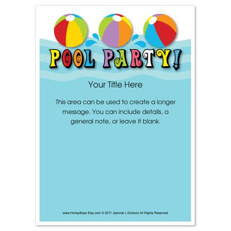 template for invite pool everyone invitations cards on pingg