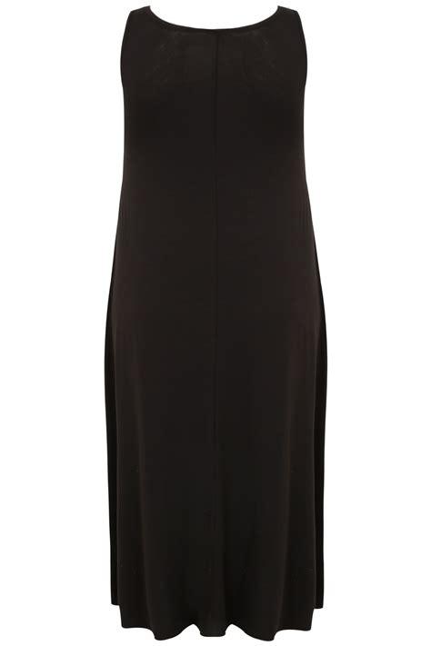 Sleeveless Dip Back Dress black dip back drape pocket sleeveless dress
