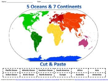 label the 7 continents amp 5 oceans by crayons 2 careers tpt
