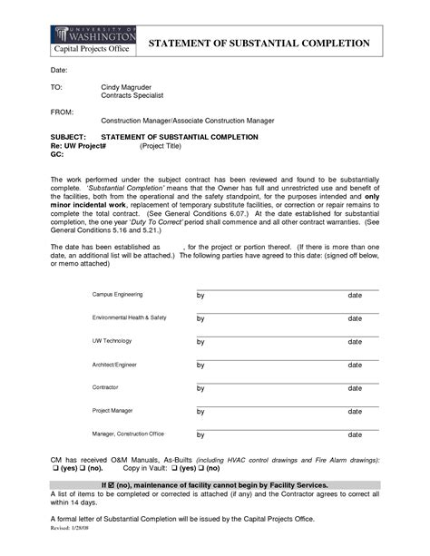 Completion Of Contract Letter Sle Letter Of Substantial Completion Free Printable Documents