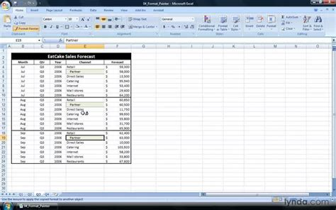 format painter in excel 2007 the format painter from the course excel 2007 power shortcuts