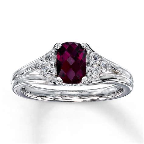 Garnet Ring by Rhodolite Garnet Ring White Topaz Sterling Silver