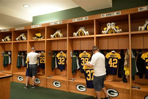 nfl locker room the wearing of the green and gold photo gallery packers locker room ready with throwbacks