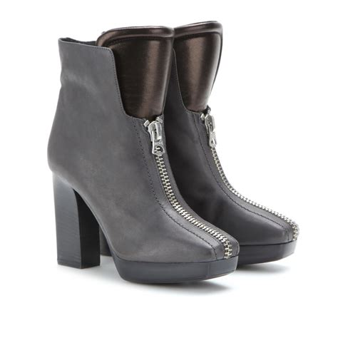 gray boots acne studios vita leather ankle boots in gray grey lyst