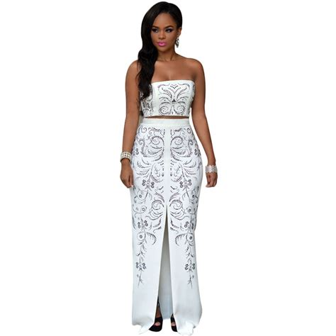 Set 2in1 Longdress aliexpress buy 2016 white printed dress strapless two set maxi dress